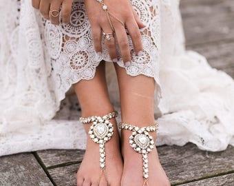 Ola Hand Bracelet Rhinestone Hand Jewelry Boho Ring Bracelet Beach Wedding Bracelet Gold Slave Bracelet Boho Hand Chain Bridal bracelet