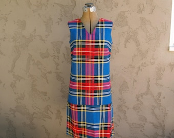 Vintage Plaid Scooter Dress with Pleats//Bright Blue & Red