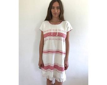 Yucatan Knit Dress // vintage 70s Mexican woven cotton floral midi dress 1970s boho ethnic hippie hippy white // O/S