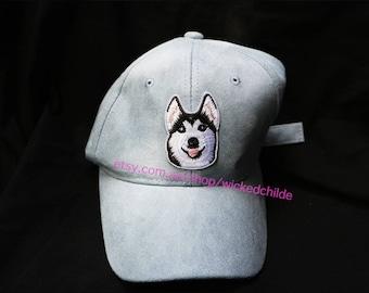 Cute Husky Pastel Blue/Pastel Pink Faux Suede Cap