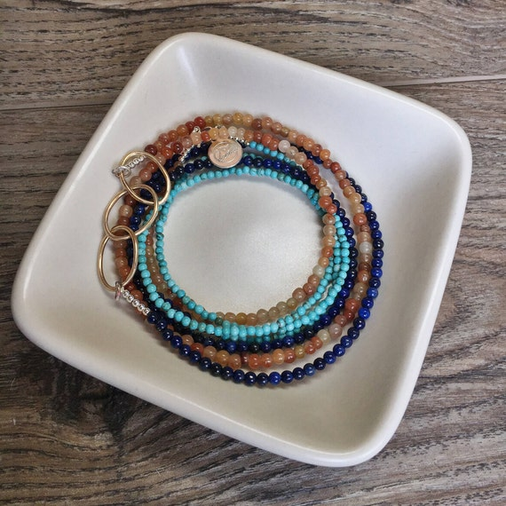 Sapphire, turquoise, moonstone necklace, gold filled necklace, beaded wrap bracelet, sterling silver, gift for women, long beaded necklace