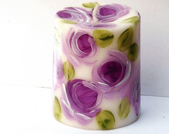 Hand Painted Lavender Rose Pillar Candle Romantic Flower Decor FREE SHIPPING
