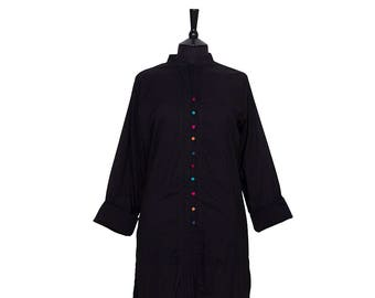 TUNIC – All sizes – Black Tunic with multi coloured buttons – 100% cotton