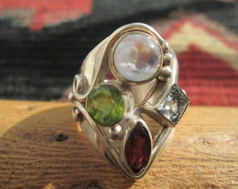Vintage Multi-stone and Sterling Silver Ring Size 7