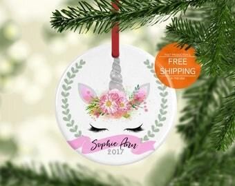 Unicorn ornament, Christmas gift, rainbow, pink, silver, eco friendly