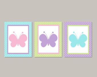 Girl Nursery Decor, Pink Butterfly Nursery Art, Butterfly Nursery Decor, Girl Nursery Pictures, Butterfly Prints, Set of 3 Prints Or Canvas