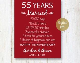 55th Anniversary Gift - 55 years Wedding Anniversary - Personalized 55th Wedding Print - Anniversary Print - DIGITAL file!