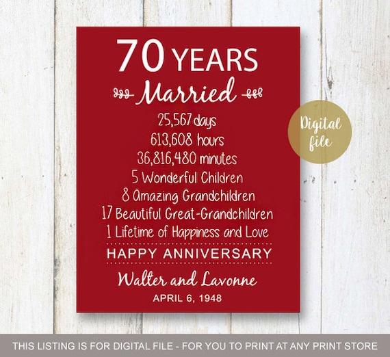70 Year Wedding Anniversary Gifts: 70th Anniversary Gift 70 Years Wedding Anniversary