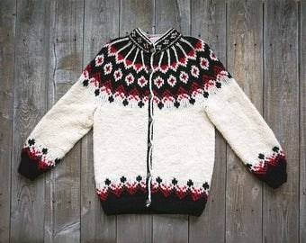 Vintage Hand Knit Nordic Style Cardigan Sweater - Hand Knit Wool Blend - Off White Ivory Black Red - Women's Medium