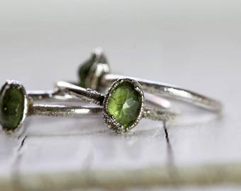Peridot Ring Silver Electroformed Stacking Ring Faceted Stone Simple Stacking Ring August Birthstone Ring Gemstone Ring Fine Silver Ring