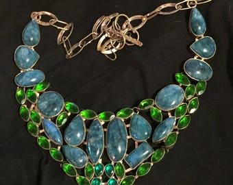 """Beautiful Vintage Peridot Turquoise Bib Necklace 19"""" - Turquoise Bib Necklace - Peridot Bib Necklace - Turquoise Peridot Silver Bib Necklace"""