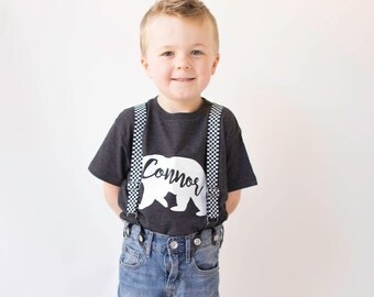 Custom name baby bear t-shirts boys
