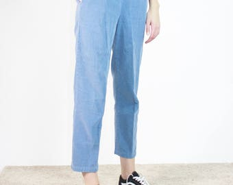 Corduroy Tapered Joggers / Elastic Waist Easy Pant in Soothing Blue / S M Small Medium