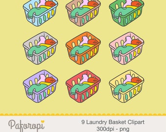 9 Laundry Basket Clipart - Washing Clothes Clipart - Cleaning Clipart