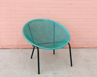 Marvelous Vintage 1970u0027s Aqua Blue Molded Plastic Solair Saucer Mid Century Patio  Motel Pool Chair