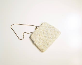 Vintage Ivory Pearl & Sequin Beaded Clutch Purse Gold Insert-able  Serpent Chain Handle presented by Donellensvintage