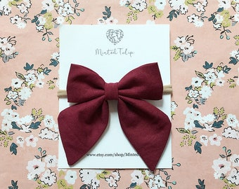 Burgundy Small or Large Sailor Bow on Headband or Hair  Clip Baby Toddler Kids