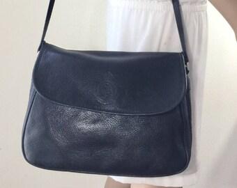 Black Leather Saddle Bag Purse, Shoulder Bag, Charter Club