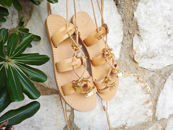 """Lace Tie up """"Hera"""" Boho Stripes Gold Charms Sandals/Crystal Stones/Genuine Greek High Quality Leather/Natural Color/Gladiator Strap"""