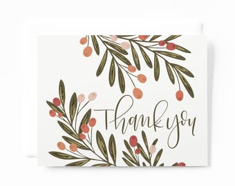 Thank You Card Set of 8 | Illustrated Floral Thank You Cards with Hand Lettered Calligraphy: Berry Grove Thank Yous