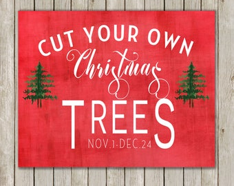 8x10 Christmas Printable, Cut Your Own Christmas Trees, Tree Farm Print, Typography Art, Holiday Art, Holiday Decor, Instant Download