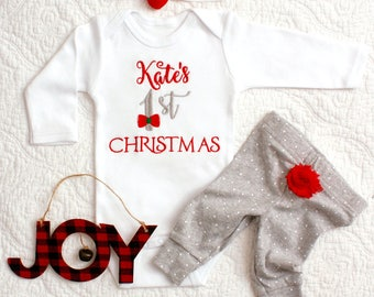 Baby Christmas first christmas bodysuit with bow headband personalized baby shirt monogrammed holiday gift holiday photos santa visit