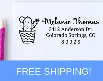 Custom Return Address Stamp, Cactus Plant Self Ink Return Address Stamp, Personalized Address Stamp, Self Ink Custom Address Stamp  (D231)