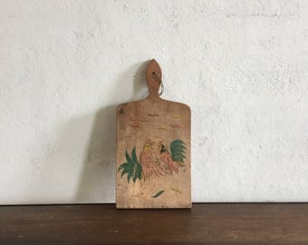 Vintage Cutting Board with Chicken Illustration