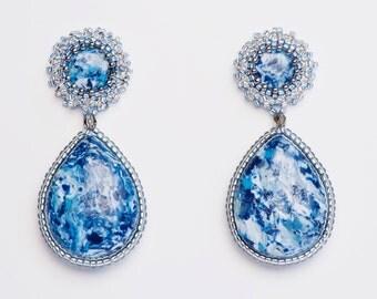 Earrings Novelove #Pendant blujeans beadsearrings #faux stones Earrings  #handmadej ewellery #vintagestyle#Italian style beadsearrings