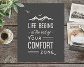 New Job Gift, Entrepreneur Gift, Graduation Gift, Mountain Decor, End of Your Comfort Zone, Motivational Quote Print, Hipster Wall Art