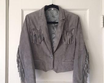 Amazing 80s Grey Suede Fringe Jacket, Tassels, Cropped Button Butter Soft Leather Lightweight Coat, Vintage 80's Western Rock Rocker