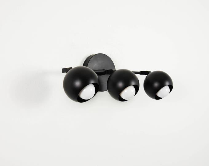 3 Orb Bathroom Wall Sconce Bathroom Vanity Matte Black Light Modern Spherical Mid Century Industrial Art Light Bathroom UL Listed