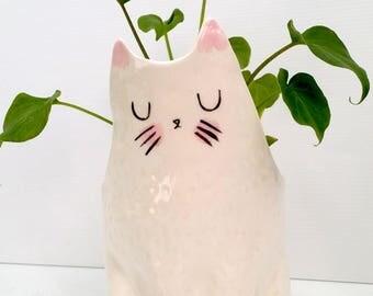 Ceramic Cat Planter / indoor planter / succulent planter