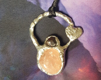 One of a kind reiki infused handcrafted soldered rose quartz and garnet heart accent pendant with necklace cord