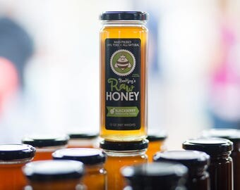 Raw Honey - Blackberry (12 oz): Blackberry-flavored, pure honey from Bee Kings