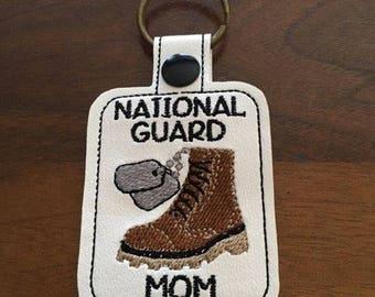 National Guard  - Mom - Combat Boot - Dog Tags - Key Fob Design - DIGITAL EMBROIDERY Design