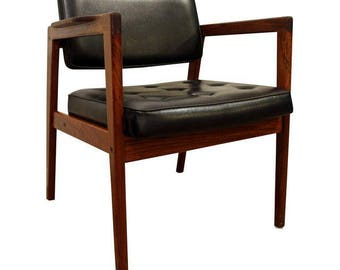 Mid-Century Danish Modern Swedish Walnut Open Arm Lounge Chair #4