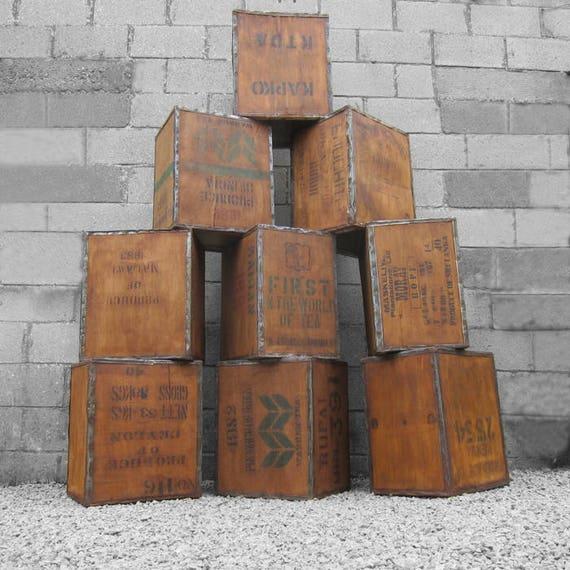 Vintage Tea Chest Trunk Box Crate Storage Side Table BedSide  London Antique Display Shop Window