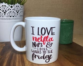 I love Netflix and long walks to the fridge mug, funny, teenagers, 11oz, ceramic, red and black, mumlife, kids, motherhood