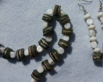 Grean and white Beaded Necklace and Earrings set