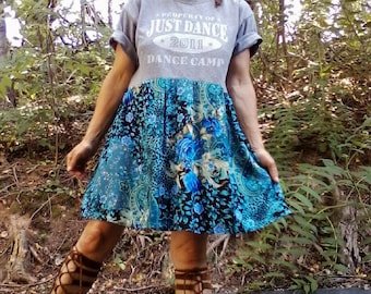 T SHIRT DRESS Just Dance Upcycled Dress Short Dress Floral Dress Upcycled t Shirt Upcycled Top Medium One of a Kind