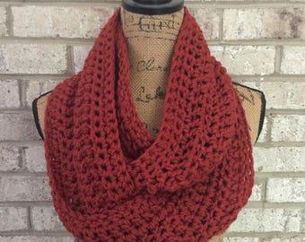 Ready To Ship Dark Burnt Pumpkin Infinity Scarf Crochet Knit Women's Accessories Eternity Fall