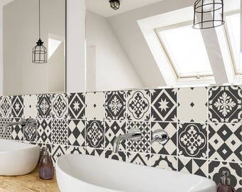 Geometric Greyscale Tiles   Wall   Stairs   Tile Stickers   Removable  Kitchen Bathroom Decal