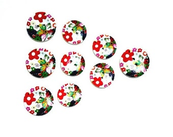 9 Assorted Mixed Floral Wooden Buttons