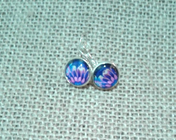 FREE SHIPPING AUSTRALIA only 12mm Silver earring with pink and blue cabochon