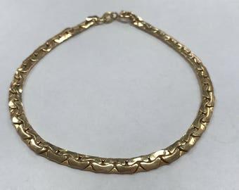 """14K Yellow Gold 8"""" 4mm Unique Link Bracelet NICE!"""