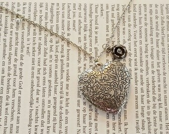 Necklace with Pendant Heart and Rose Flower, Big Heart Necklace, Vintage style, Love gift