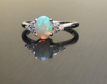 Diamond Platinum Opal Engagement Ring - Art Deco Platinum Diamond Opal Wedding Ring - Diamond Opal Platinum Ring - Opal Diamond Ring