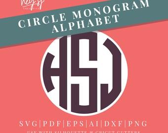 Circle Monogram Alphabet in SVG Vector Format, for use with Silhouette Studio, Cricut, Illustrator