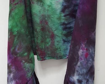 Hand Dyed Rayon Infinity Scarf in Green, Purple, & Gray